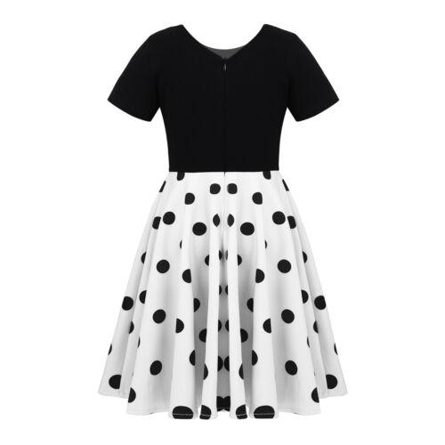 Kids Girls Princess Dress Long Sleeves Polka Dots Pattern Birthday Party Dress