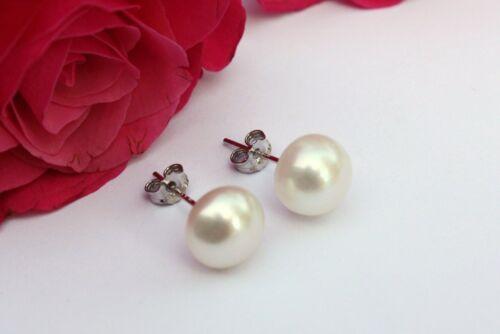 6 7 8 9 10 Weiß Zucht Süßwasser Perlen Schmuck Ohrringe Ohrstecker 925 Silber !