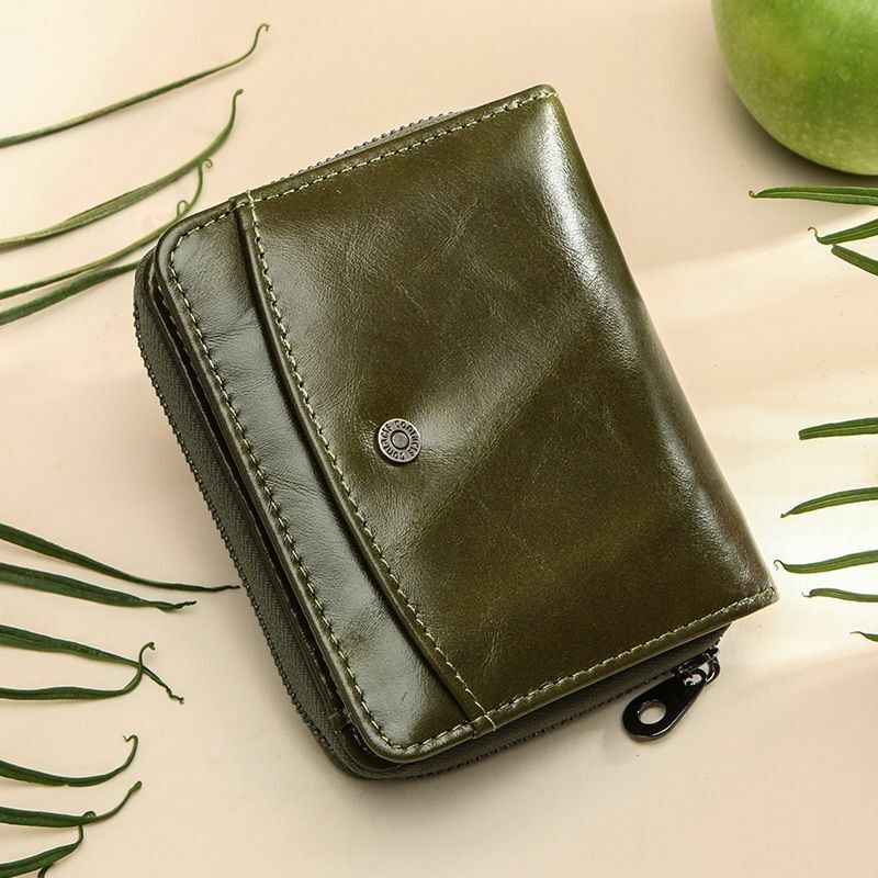 Fashion Coin Pocket Wallets Genuine Leathers RFID Zipper Wallet High Quality New