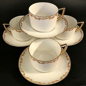 M-Z-AUSTRIA-ROYAL-INNSBRUCK-VIENNA-CUPS-amp-SAUCERS-SET-OF-4-18KT-GOLD-ALTROHLAU