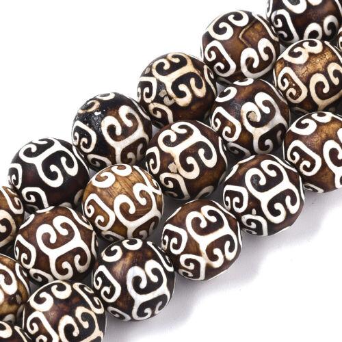 3 Strds Tibetan dZi Old Agate Stone Beads Round w// Auspicious Cloud Gems 12mm
