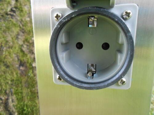 Steckdosensäule Edelstahl 2 Steckdosen mit Leuchte und Montageplatte neu