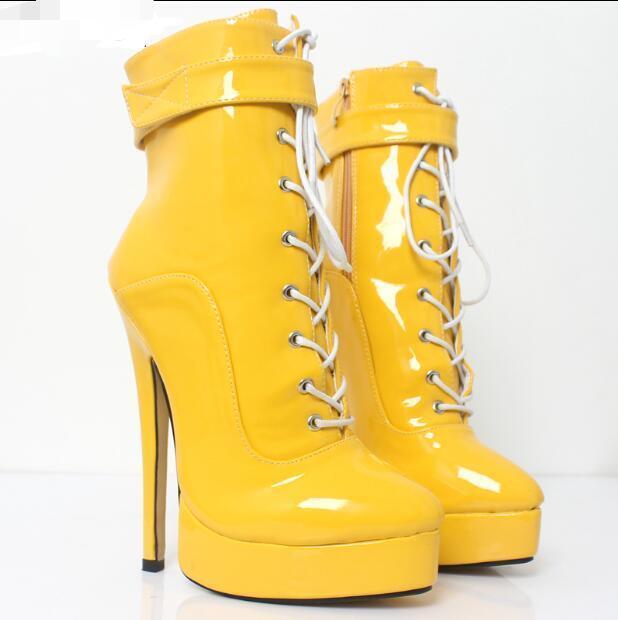 Mujer Correa Hebilla Plataforma Plataforma Plataforma Stilettos botas al tobillo con Cordones de etapa de Cuero Zapatos Talla  Ven a elegir tu propio estilo deportivo.