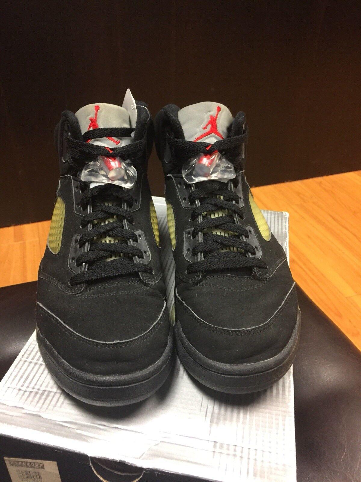 2000 Nike Air Jordan V 5 Black Metallic Silver 136027-001 Sz 8.5 DS Pre-owned