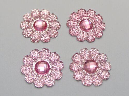 50 Pink Acrylic Flatback Dotted Sunflower Rhinestone Gems 22mm No Hole
