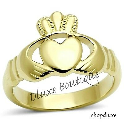 Women's 14k Gold Plated Irish Claddagh Promise Friendship Ring Band Size 5-10