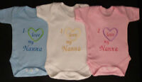 I Love My Nanna Nana Baby Vest Grow Babies Clothes Funny Gift Boy Girl Pink Blue