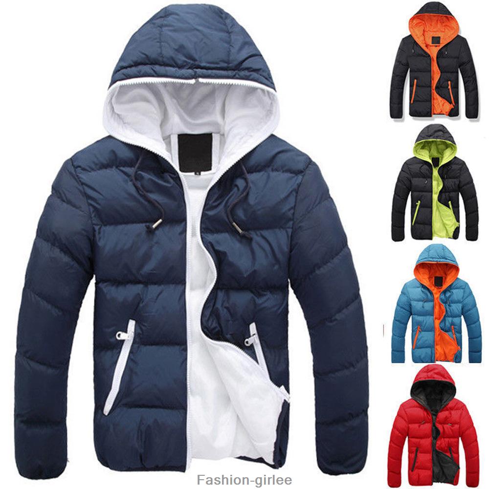Fashion Men Boy Winter Warm Hooded Thick Padded Jacket Zippe