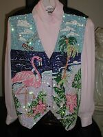 Sequin Flamingo Vest Cruise Wear Glittering Flamingos Great Christmas Gift Xl
