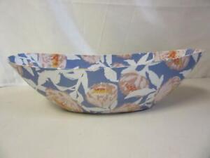 """Opalhouse Blue Flower Boat Paper Mache 4.7"""" x 18.5"""" x 6.2"""" Wola Nani Artisan"""