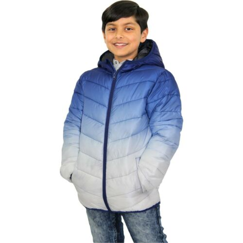 Kids Boys Hooded Jacket Navy 3D Two Tone Faded Gradient Print Warm Thick Coats