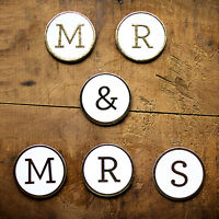 Mr & Mrs Gold Foil Cardboard Letter Medallions Wedding Anniversary Decorations