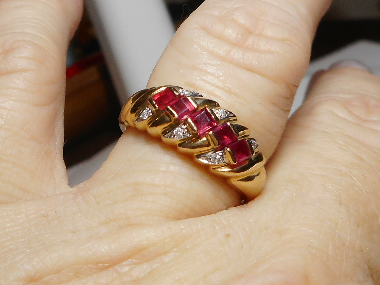 14kt Ring Yellow gold Copyright Diamond and Square Cut Ruby's