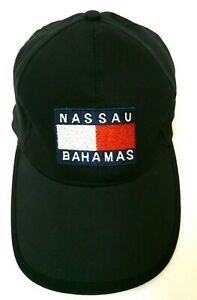 Nassau-Bahamas-Black-Baseball-Hat-Cap-Adjustable-Embroidered-Flag-Spell-Out-EUC