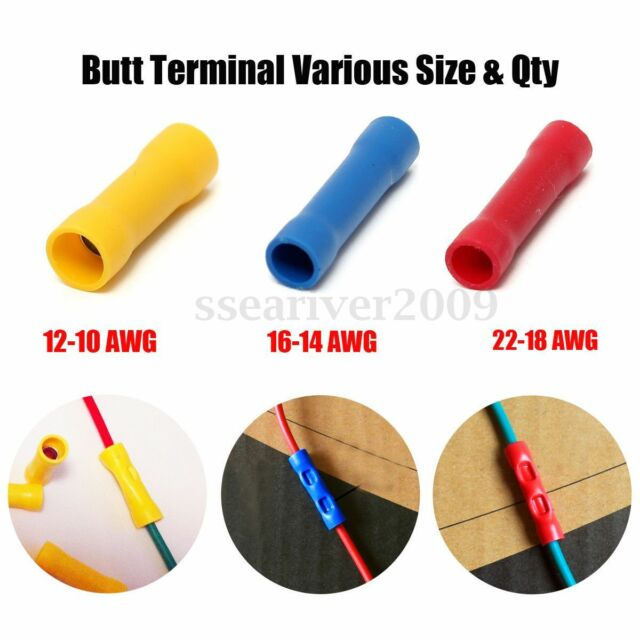 10/50/100Pcs 3 Size Insulated Butt Terminal Electrical Crimp Wire Connectors
