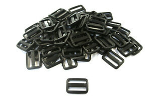 20mm Triglide Black Plastic 3 Bar Slides x 10 For Webbing Bags Straps Fastenings