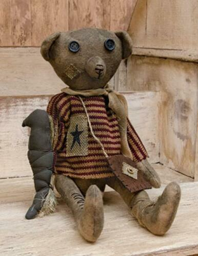 Robert E Primitive Country Rustic Stuffed Teddy Decor Doll Bear with Crow