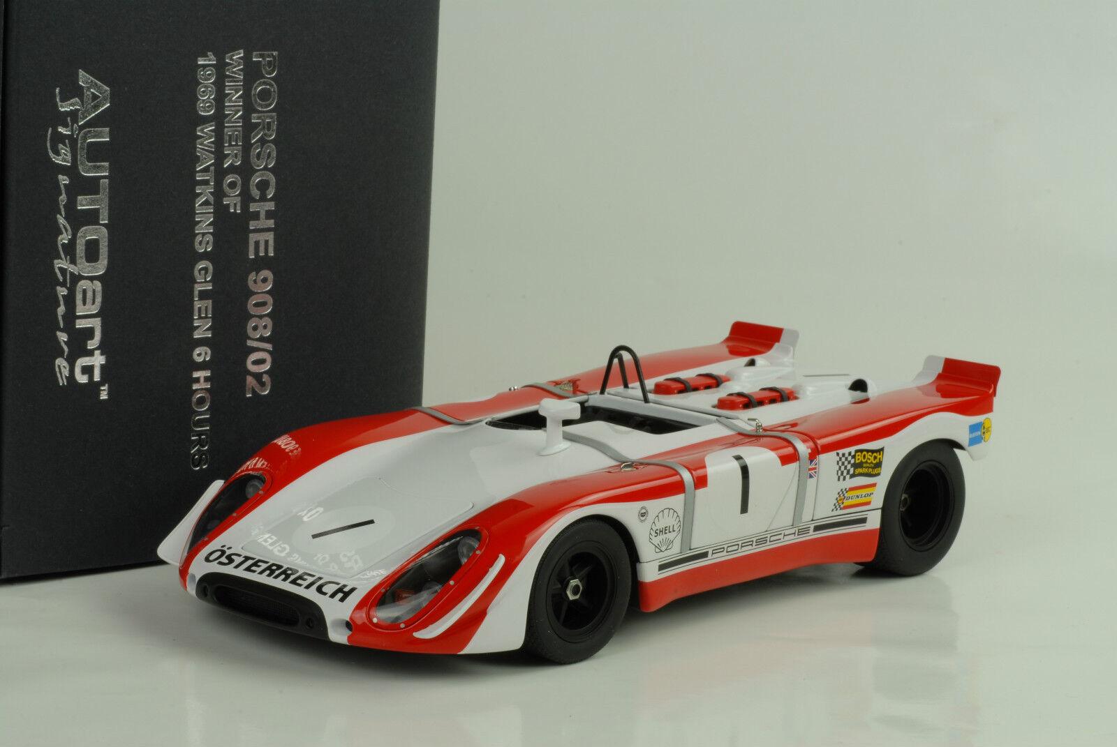 1969 Porsche 908  2 Watkins Glen 6Hours rödman  Siffert 1 18 bilkonst