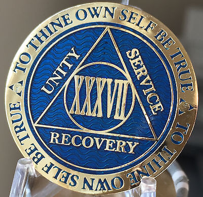 AA BSP Blue Gold 30 Year Coin Tri-Plate Alcoholics Anonymous Medallion Top Grade
