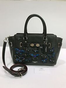 Coach-Blake-Pebble-Leather-Carryall-25-Bag-Butterfly-Applique-Black-COD-PayPal