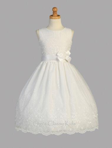 New Girls White Embroidered Organza Dress First Communion Flower Elegant SP110
