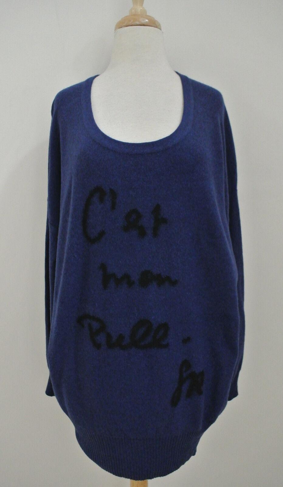 SONIA RYKIEL C'est Ma Pull Intarsia sweater L wool cashmere cashmere cashmere bluee tunic 222f8b
