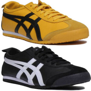 separation shoes 975e0 7a909 Details about Onitsuka Tiger Mexico 66 Unisex Leather Trainer In Black  Yellow Size UK 3 - 12
