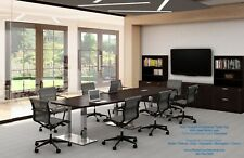 20 Ft Foot Modern Conference Table With Metal Legs Grommets For Power 8 Colors