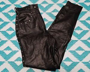 Harley-Davidson-Women-039-s-Leather-Motorcycle-Biker-Riding-Pants-Size-34-6W