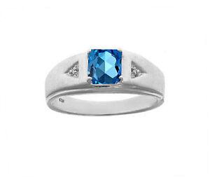 925 Sterling Silver CZ Blue Topaz Wedding Ring Jewelry Free Shipping AJ289