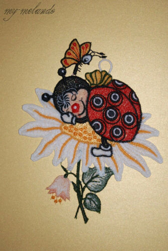 Saughaken Plauener Spitze® Fensterbild Dekoration Marienkäfer schlafend Blumen