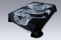 Solaron Original Dragon Korean Mink Super Soft Plush Queen Size Blanket Black