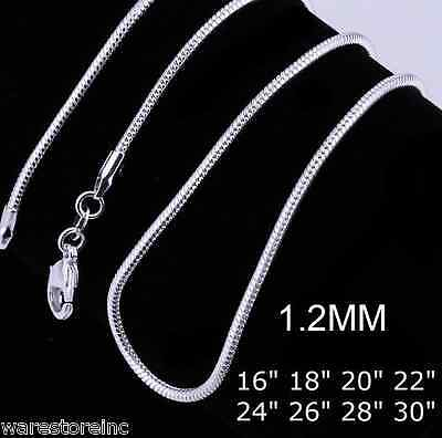 """1mm 925 Sterling Silver Snake Chain Necklace 16 18 20 22 24 26 28 30"""" INCH FLAT"""