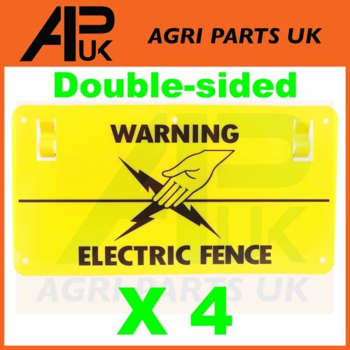 4 x Electric Fence Warning Plastic Sign Double Sided Poly Wire tape Screw Fixing