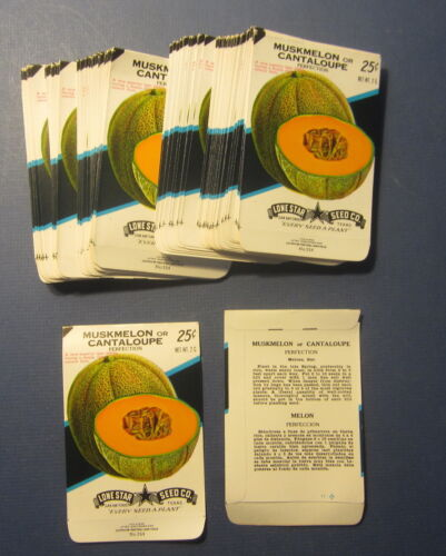 SEED PACKETS Wholesale Lot of 100 Old Vintage CANTALOUPE Perfection EMPTY