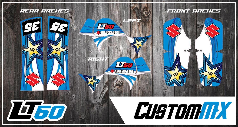 SUZUKI LT50 LTA50 Gráfico Kit Stickers Quad Calcomanías Gráficos LT50 A LTA 50