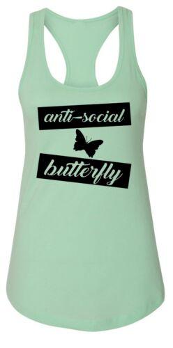 Ladies Anti Social Butterfly Racerback Tank Top Tee