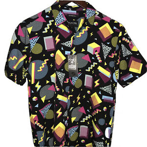 Vtg McBell Abstract Long Sleeve Button Front Shirt Size L