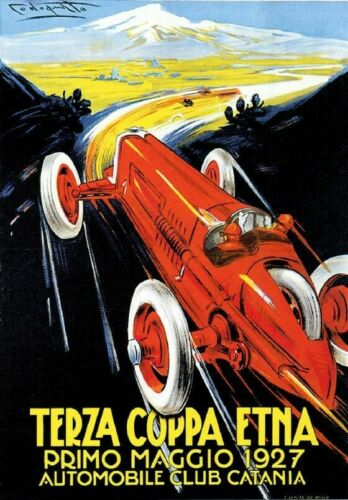 Vintage Old Transport Poster Terza Coppa Etna 1927 Print Art A4 A3 A2 A1