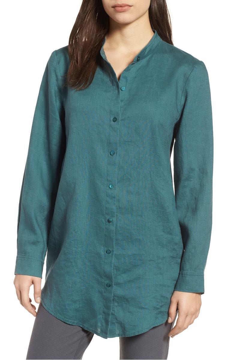 Eileen Fisher Organic Linen Button Down Tunic Shirt XXS Dragonfly Green