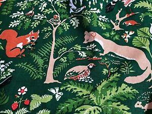 Sale-Mid-Century-Wilderness-Barkcloth-Era-Vintage-Fabric-Drape-Curtain-Animals