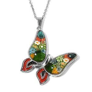 "Stainless Steel Murano Millefiori Glass Butterfly Chain Pendant Necklace 20"" Ct5"