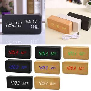 LED-Reveil-Horloge-Thermometre-Numerique-Cube-en-Bois-Commande-de-Son-cadeau