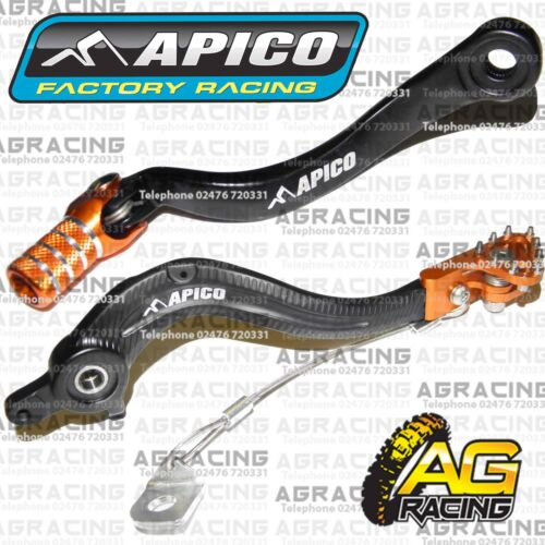 Apico Black Orange Rear Brake /& Gear Pedal Lever For KTM SXF 450 2008 Motocross