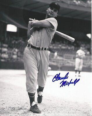 Detroit Tigers Charlie Maxwell in Briggs Stadium 8 x 10 B&W Signed Photo B