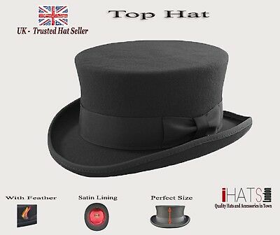 iHatsLondon UK Top Hat Black Victorian Topper Tall Unisex Supreme Quality Felt