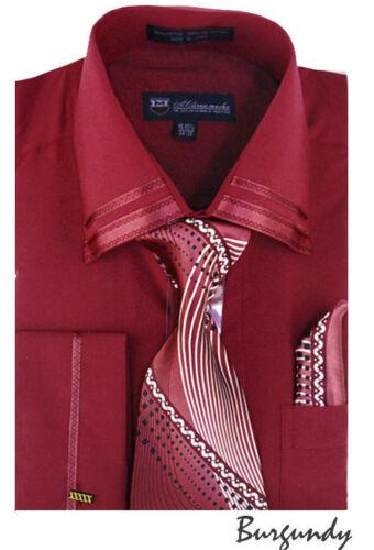 Men/'s french cuff Robe chemise avec cravate et mouchoir 10 Couleurs 15 ~ 20 SG28