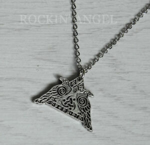 Antique Silver Plt Rune Valknut Pendant Necklace Ladies Mens Gift Viking Norse