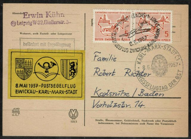 East Germany 1957 Glider Mail With Vignette