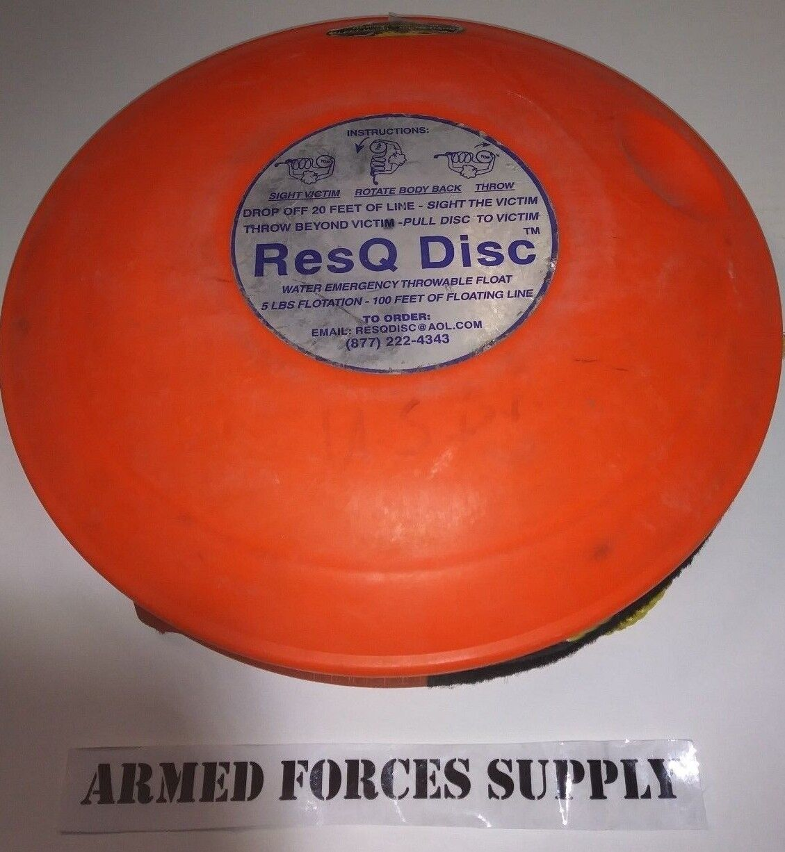 RESQ DISC WATER FLOAT EMERGENCY THROWABLE LIFE SAVER FLOTATION RESCUE DEVICE